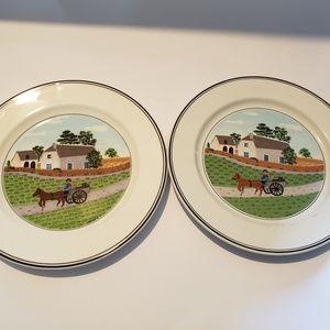 "Pair Villeroy Boch Design Naif Salad plates 8"""